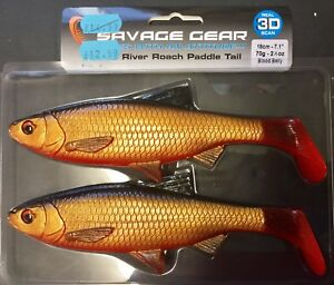 SAVAGE-GEAR-3D-RIVER-ROACH-PADDLE-TAIL-18cm-70g-RRP-14-99-PIKE-LURE