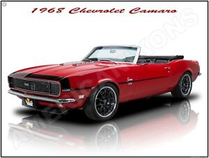 1968 Ford Mustang Hot Rod in Red New Metal Sign Fully Restored