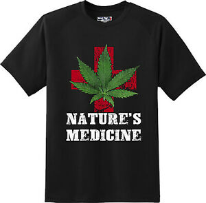 Funny-Nature-039-s-Medicine-Marijuana-Weed-Pot-Smoke-gift-T-Shirt-New-Graphic-Tee