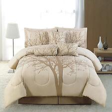 Comforter Queen Size Set 7PC Bedding Patchwork Brown Soft Microfiber Winter Tree