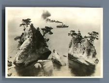 Japan, View of a steamer  Vintage silver print.  Tirage argentique  5x6,5