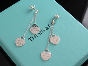 Image Is Loading Tiffany Co Silver Heart Double Drop Dangle Earrings