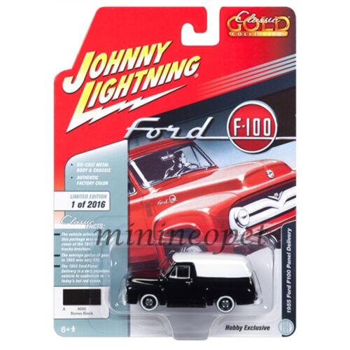 JOHNNY LIGHTNING JLSP030 1955 FORD PANEL DELIVERY 1//64 BLACK with WHITE TOP