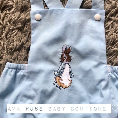 baby boys blue peter rabbit handmade embroidered romper outfit 0-3 months