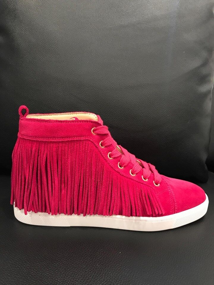 NIB Christian Flat Louboutin Frangine Fringe Pink Rosa Suede Flat Christian Hightop Sneaker 37 d7210a