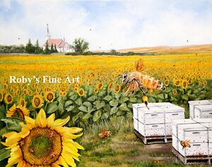 Honey-Bee-Art-Print-034-Nature-039-s-Choir-034-Honeybee-and-Church-8-034-x10-034-by-Roby-Baer-PSA