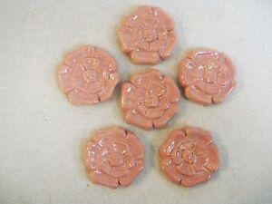 ROSETTE TILES Handmade Ceramic Stoneware Decorative Art DUSTY ROSE PINK Set of 6
