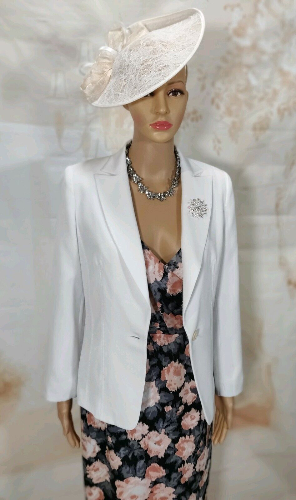 Mother of the Bride White, Coral, Silver & Black Wedding Outfit Size 10