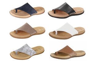 reputable site 1f895 3caeb Details zu Gabor Zehentrenner Sandale Flip Zehensteg Pantoletten mit  Fußbett.700 Leder NEU