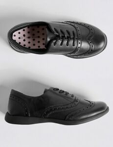 M\u0026s Girls Leather Brogue School Shoes