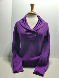 Lauren-RALPH-LAUREN-Womens-Purple-Knit-Sweater-Shawl-Neck-Size-Small