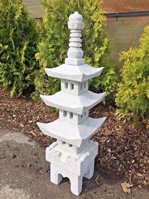 3 Pagoda Japanese Carved Granite Garden Lantern For Sale Online