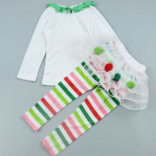 2PC Toddler Baby Girl wapiti Christmas outfits Tops+Tutu dress Pants Clothes set