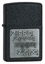 "Zippo ""Pewter Emblem-Logo"" Black Crackle Finish Lighter, Full Size, 363"