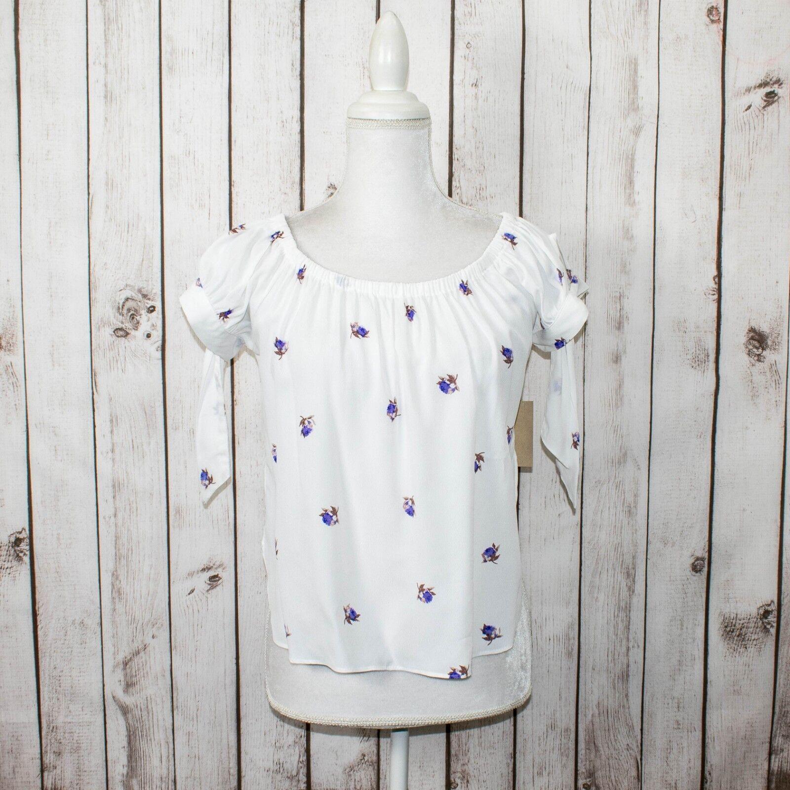 FLYNN SKYE Woherren Off Shoulders Blouse Top Weiß w  floral Print Tie Sleeves S
