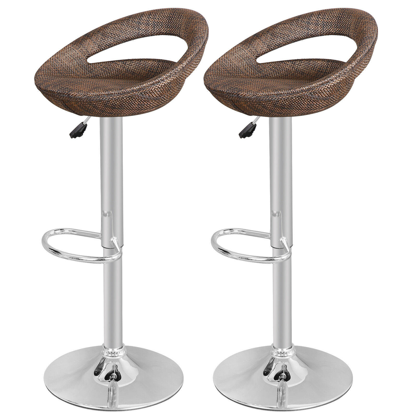 Set of 2 Modern Adjustable Height Home Pub ABS Rattan Swivel  Wicker Bar Stool Benches, Stools & Bar Stools