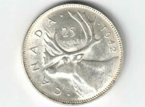 CANADA-1942-25-CENTS-QUARTER-KING-GEORGE-VI-CANADIAN-800-SILVER-COIN