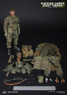 """DAM Toys 1/6 Scale 12"""" USMC US Marine Corps Scout Sniper Seargent Major 93018"""