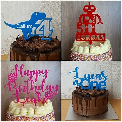 Astounding Birthday Cake Topper Personalised Childrens Party Dinosaur Personalised Birthday Cards Cominlily Jamesorg