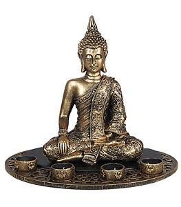 Brushed-Gold-Effect-Large-Sitting-Buddha-4-Tealight-Candle-Holder-Statue-Figure
