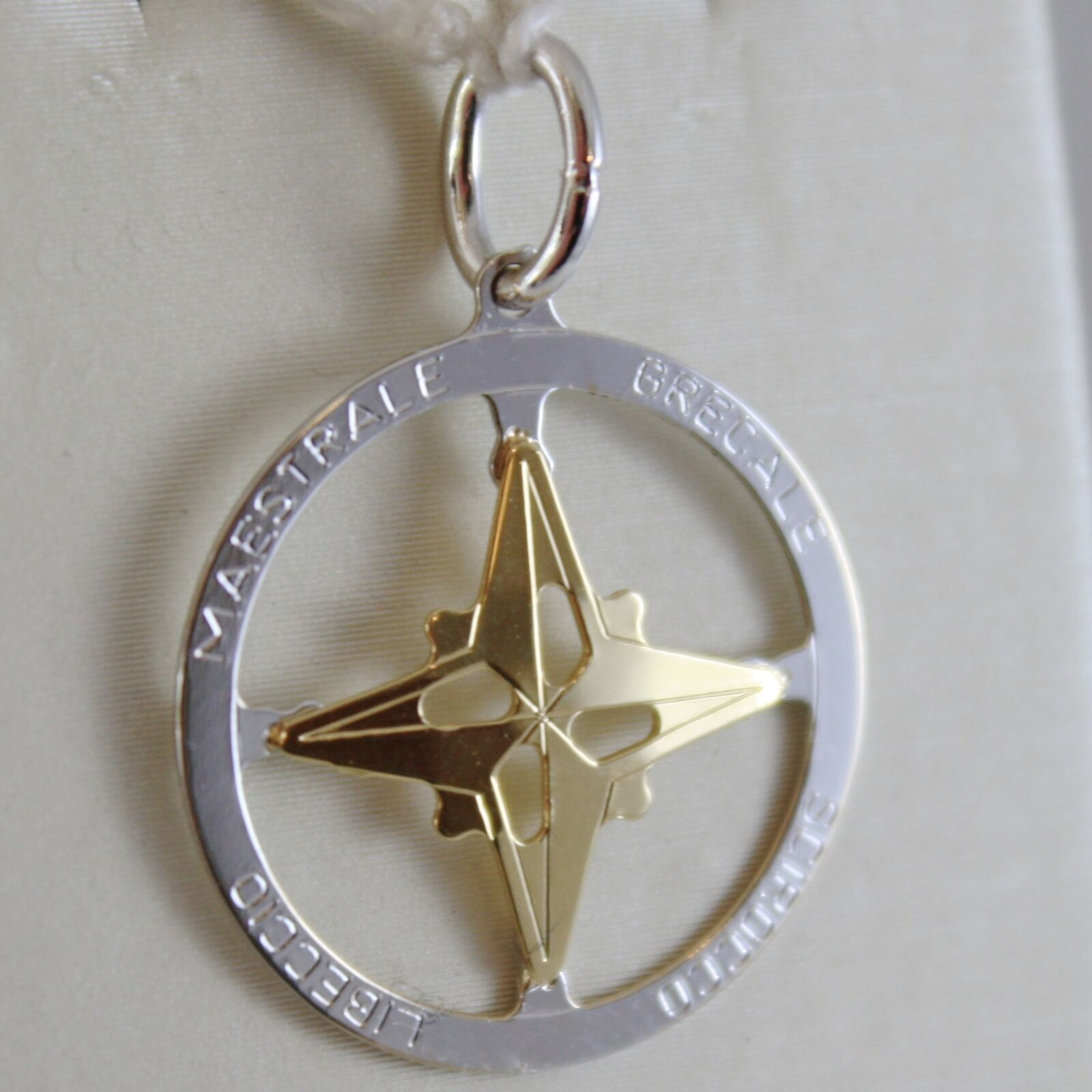 18K WHITE & YELLOW gold WIND pink, COMPASS CHARM, WINDS PENDANT MADE IN ITALY