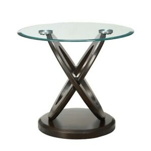 Details About Coaster Gl Top Round End Table In Espresso