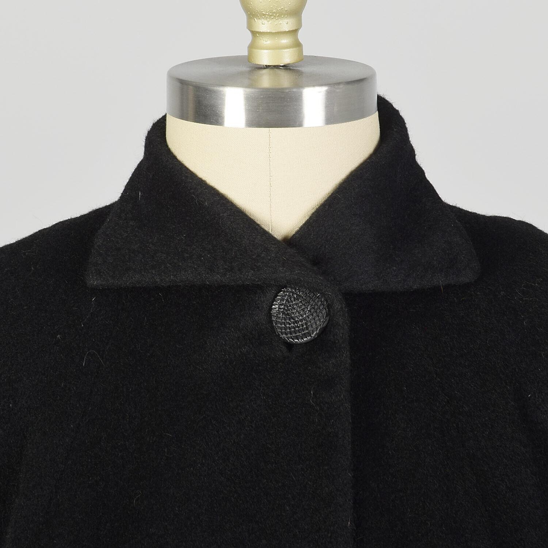 Large 1950s Princess Coat Black Wool Batwing Dolm… - image 5
