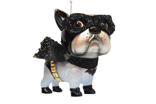 DECEMBER DIAMONDS Glass Ornament SUPERHERO DOG Bat Glitter English Bulldog Puppy