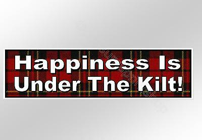 funny car bumper sticker happiness is under the kilt decal with Scottish tartan