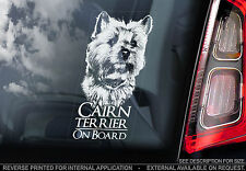 Cairn Terrier - Car Window Sticker - Scottish Highland Dog Sign Art Print Gift
