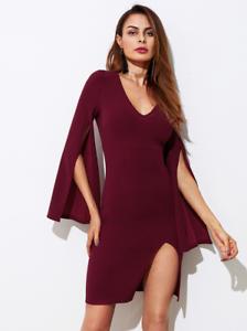 Burgundy Form Fitting Mini Dress