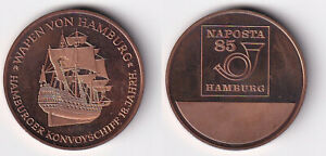 Naposta-85-Hamburg-Schiff-Segelschiff-Wappen-von-H-Hamb-Konvoyschiff-Medaille