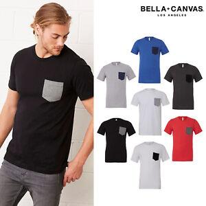 BELLA-Canvas-Unisex-Jersey-Manica-Corta-T-shirt-con-taschino-3021-Girocollo-Tee