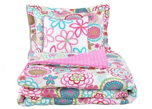 Cozy Line Pink Floral Polka Dot Comforter Set with Floral Decorative Pillow