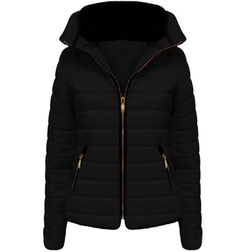 Ladies Womens Padded Zip Up Puffer Parka Bubble Jacket Warm Winter Quilted TOP