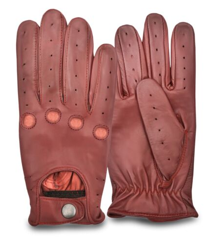 Genuine Leather Gloves Mens Traditional Vintage Slim Style Driving Glove Brown