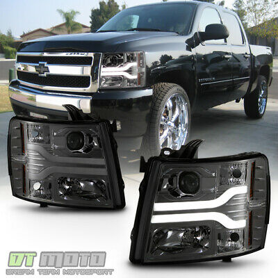 Details about  /FOR 07-13 CHEVY SILVERADO PICKUP BLACK//SMOKE REPLACEMENT HEADLIGHT BLUE LED DRL