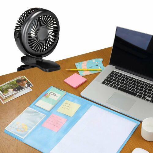 2X MiniLüfter USB Ventilator Regelbar Clip Schreibtisch Tischventilator mit Akku