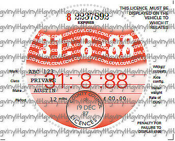 2 x 1987 to 1993 Period Replica Reproduction Vintage Road Tax Discs1 plus1 spare