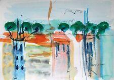 Peinture, tableau, original, decoration, aquarelle, paysage, méditerranée, Sète