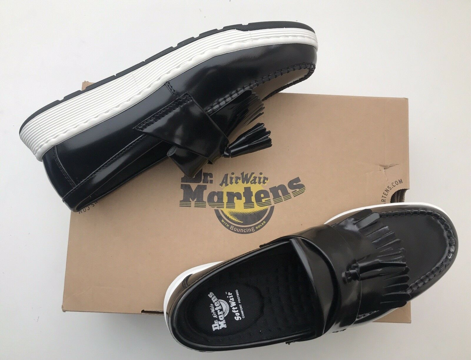 BNIB Dr Martens Edison Loafer 9 Polished Smooth Black Guaranteed Original