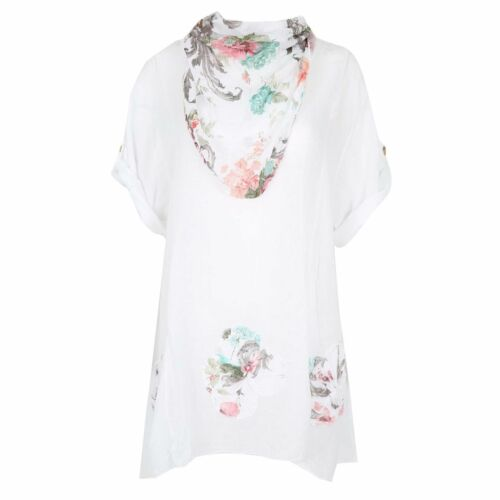 Ladies Womens Short Sleeve Lagenlook Floral Italian Scarf Tunic Top Tee Shirts