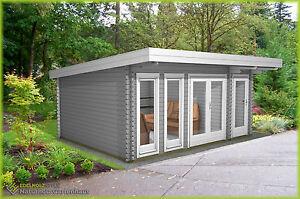 Gartenhaus Holz 40mm Flachdach Modern Blockbohlen 5 1x3 9m Lingen