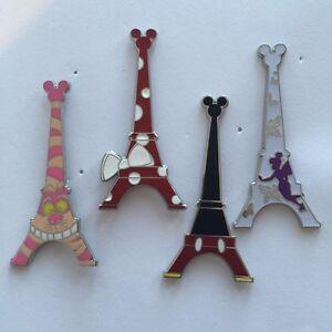 DISNEY-PINS-PARIS-EIFFEL-TOWER-4-PINS-AS-SHOWN-Minnie-Mickey-Tink-Cheshire