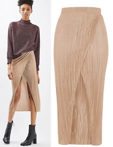 83a0695f39 Image is loading TOPSHOP-Plisse-Wrap-Midi-Skirt-in-Nude-Sizes-