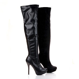 sonny283 almond toe fitted the knee stiletto heel boots