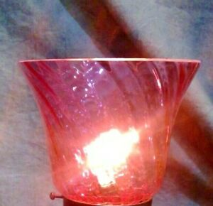Cranberry-Swirl-Ribbed-Pattern-Table-Lamp-Shade-Globe-Fixture