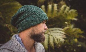 Green-Wool-Knit-Handmade-Men-Beanie-Hat-Warm-Winter-Cap-Gift-For-Him-Dad-Husband