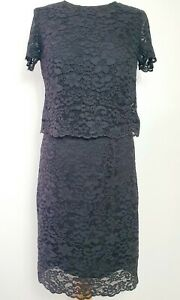 ESPRIT-Black-Lace-Layered-Shift-Dress-with-short-sleeves-UK-Size-10-Floral