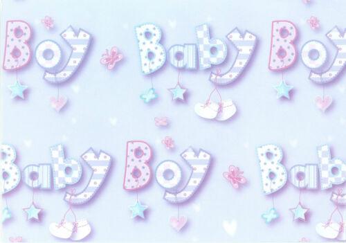 Recién nacidos Niño O Niña Envoltura De Regalo Con Etiquetas 50x70cm + 2 X Etiquetas * Nuevo * 2 x Hojas